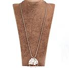 白贝壳生命树金属珠链长款项链
