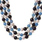 白珍珠 玛瑙项链 三层款