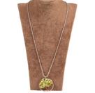 橄榄玉生命树金属珠链长款项链