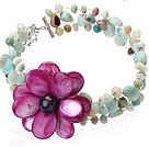 亚马逊石紫晶贝壳花项链 编花款