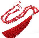 红色人造水晶 红色流苏项链
