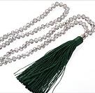 白色人造水晶 绿色流苏项链