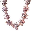 天然紫色异形珍珠项链 单层唯美款