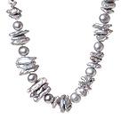 银灰色异形珍珠项链 单层唯美款