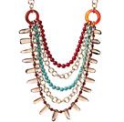 珊瑚玛瑙松石茶晶金色铝链项链 多层唯美款