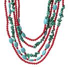 绿松石 红珊瑚项链 多圈款