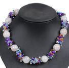芙蓉石珍珠蓝矿水晶项链