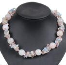 芙蓉石珍珠水晶项链