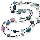 紫萤石 水晶 多宝项链 杂形随机发货 132cm长款