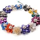 天然白色珍珠 彩色贝壳花项链