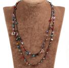 混色水晶绳结项链(可做手链)