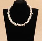 A级白色再生珍珠项链  配心形扣