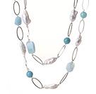 异形珍珠天然海蓝宝海棉水晶项链 130cm长款毛衣链
