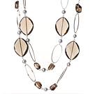 珍珠天然茶晶项链 毛衣链 120cm合金链长款