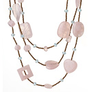 芙蓉石水晶项链 180cm超长款毛衣链 形状随机