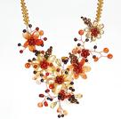 红玛瑙 珍珠 水晶 贝壳项链 编花款