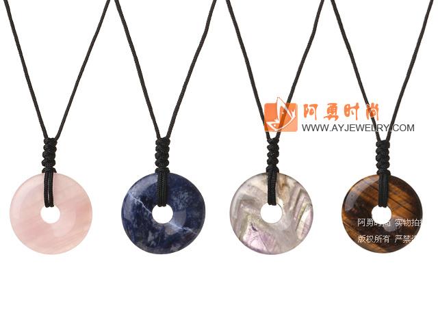 35mm芙蓉石蓝纹石紫晶虎眼石平安扣项链 编织绳吊坠款 4件装