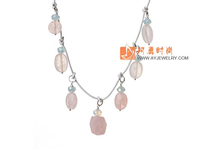 水晶芙蓉石项链形状随机 皮绳款