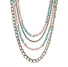 芙蓉石珍珠蓝晶项链 多层系列四层款