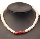 9-10mm四面光珍珠红玛瑙项链