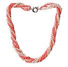 珊瑚珍珠项链 多股扭扭款