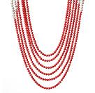 珊瑚珍珠项链 多层系列六层款