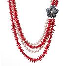 珊瑚珍珠项链 四层配独特贝壳花扣款