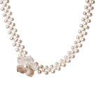 珍珠贝壳花项链 颈链款