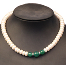 9-10mm四面光珍珠绿玛瑙项链