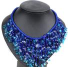蓝色系珍珠水晶绳结项链