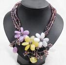 浅紫色水晶花朵项链
