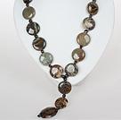 蛇皮玛瑙和黑珍珠项链 配方向盘扣
