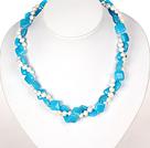 两串白珍珠蓝玉项链 配心形扣