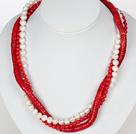 三串白珍珠和红珊瑚项链 配方向盘扣