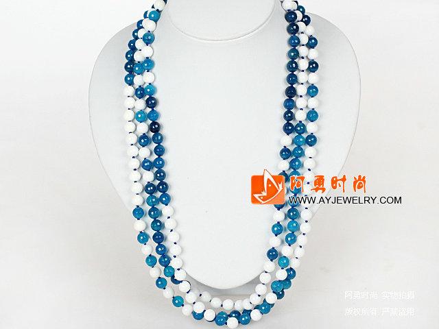 180厘米超长款项链 8mm切面蓝玛瑙和白瓷石