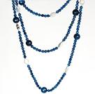 长款项链毛衣链 珍珠配切面蓝玛瑙