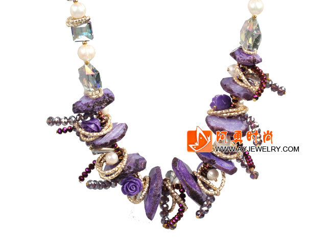 紫色系珍珠水晶结晶玛瑙项链