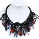 水晶红石绳结项链