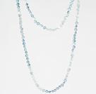 6-7mm浅蓝色珍珠水晶 长款项链毛衣链
