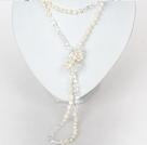 6-7mm天然白珍珠水晶长款项链毛衣链