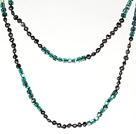 6-7mm黑珍珠配湖绿色水晶 长款项链毛衣链