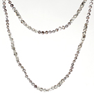 6-7mm灰珍珠配茶色水晶 长款项链毛衣链