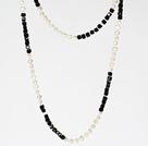 6-7mm白珍珠配黑水晶 长款项链毛衣链