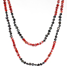 6-7mm黑珍珠配红色水晶 长款项链毛衣链