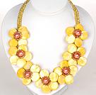 黄色水晶贝壳花礼服项链