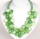 绿色水晶贝壳花礼服项链