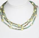 蓝绿色水晶巴洛克珍珠长款项链