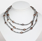 灰色水晶巴洛克珍珠长款项链