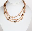 棕色水晶巴洛克珍珠长款项链