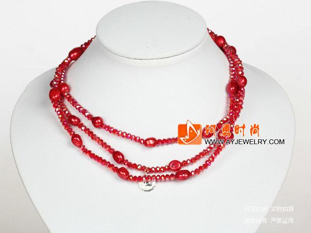 大红色水晶巴洛克珍珠长款项链
